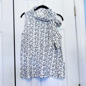 NWOT Kate Spade Bow Print Tie Neck Top L